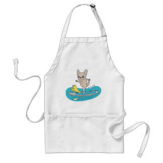 Frenchie doing yoga on stand-up paddle board standard apron