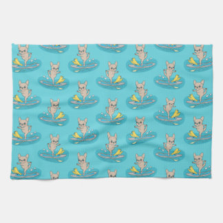 Frenchie doing yoga on stand-up paddle board tea towel