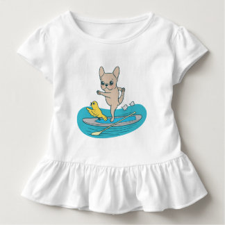 Frenchie doing yoga on stand-up paddle board toddler T-Shirt