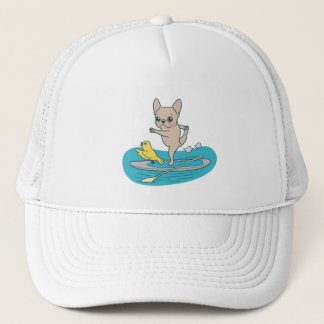 Frenchie doing yoga on stand-up paddle board trucker hat