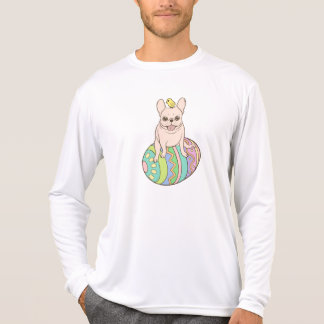 Frenchie & Easter Chick on Coloful Easter Egg T-Shirt