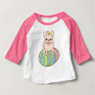 Frenchie & Easter Chick on Colorful Easter Egg Baby T-Shirt
