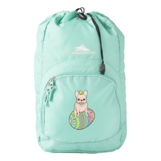 Frenchie & Easter Chick on Colorful Easter Egg Backpack