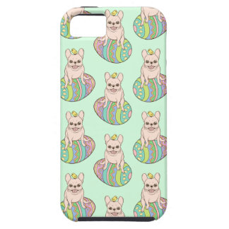 Frenchie & Easter Chick on Colorful Easter Egg Case For The iPhone 5