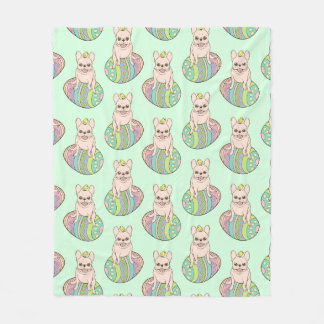 Frenchie & Easter Chick on Colorful Easter Egg Fleece Blanket