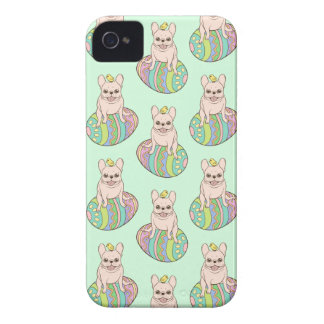 Frenchie & Easter Chick on Colorful Easter Egg iPhone 4 Cover