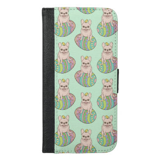 Frenchie & Easter Chick on Colorful Easter Egg iPhone 6/6s Plus Wallet Case