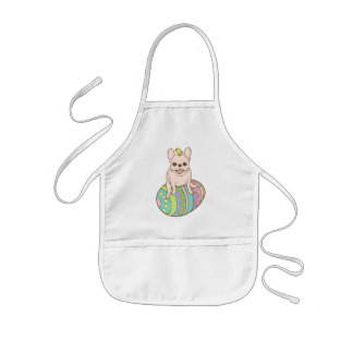 Frenchie & Easter Chick on Colorful Easter Egg Kids Apron