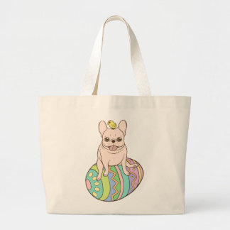 Frenchie & Easter Chick on Colorful Easter Egg Large Tote Bag