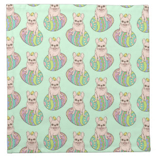 Frenchie & Easter Chick on Colorful Easter Egg Napkin
