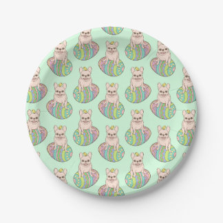 Frenchie & Easter Chick on Colorful Easter Egg Paper Plate