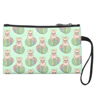 Frenchie & Easter Chick on Colorful Easter Egg Suede Wristlet