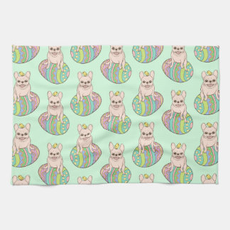 Frenchie & Easter Chick on Colorful Easter Egg Tea Towel