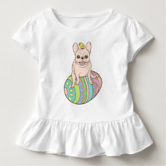 Frenchie & Easter Chick on Colorful Easter Egg Toddler T-Shirt
