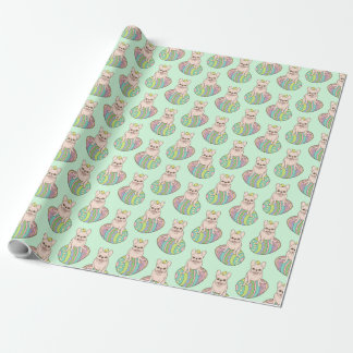 Frenchie & Easter Chick on Colorful Easter Egg Wrapping Paper