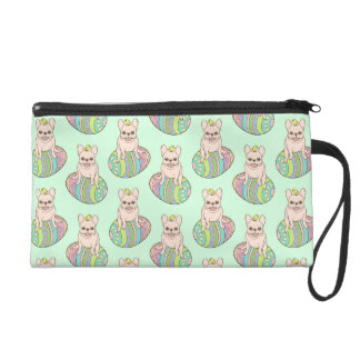 Frenchie & Easter Chick on Colorful Easter Egg Wristlet