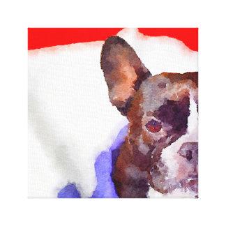 frenchie flag canvas print