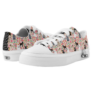 Frenchie Floral Shoes - french bulldog sneakers