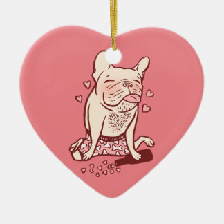 Frenchie is drunk in love ceramic heart decoration