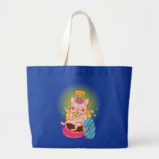 Frenchie is The King of Doughnuts Large Tote Bag