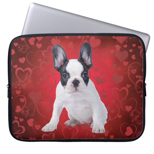 Frenchie love puppy laptop sleeve