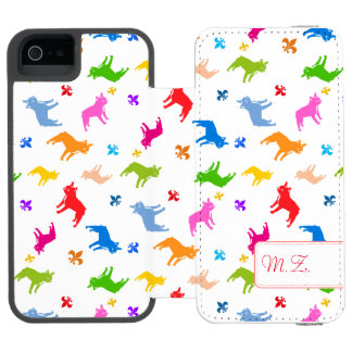 Frenchie Pattern Monogram Incipio Watson™ iPhone 5 Wallet Case