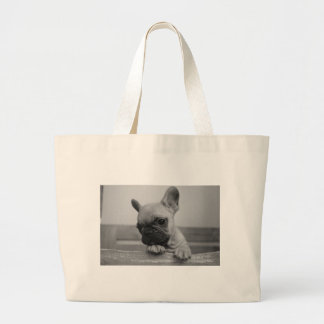 Frenchie puppy large tote bag