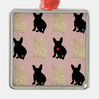 Frenchie Silhouette Pattern Metal Ornament