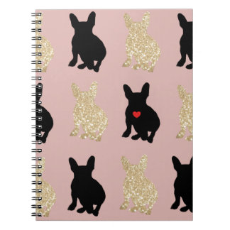 Frenchie Silhouette Pattern Notebook