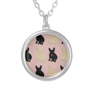 Frenchie Silhouette Pattern Silver Plated Necklace