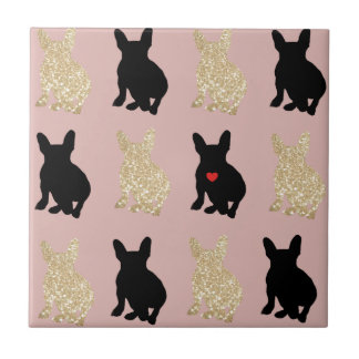 Frenchie Silhouette Pattern Tile