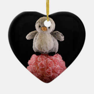 Frenchie the Penguin Ceramic Heart Decoration