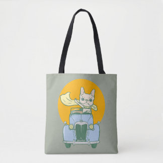 Frenchie's summer road trip tote bag