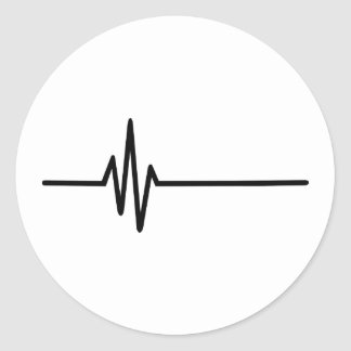 Frequency Pulse Heartbeat Classic Round Sticker