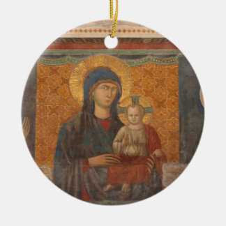 Fresco Of Madonna And Child Round Ceramic Decoration