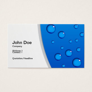 Fresh and creative visit card with blue aqua drops