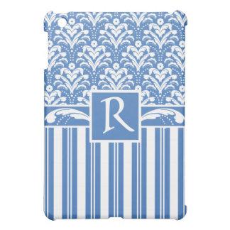 Fresh and Elegant Art Deco Blue and White Damask iPad Mini Cases