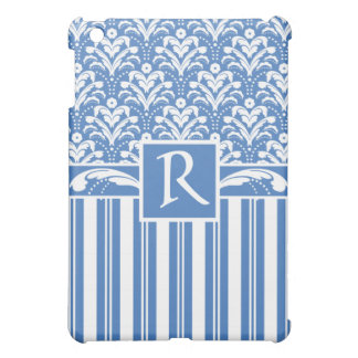 Fresh and Elegant Art Deco Blue and White Damask iPad Mini Cover