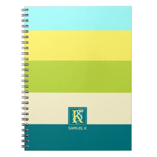 Fresh and Happy Colorful Stripes Monogram Notebook
