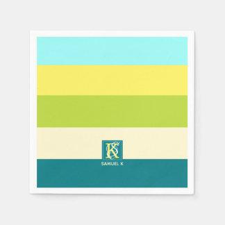 Fresh and Happy Colorful Stripes Monogram Paper Napkin