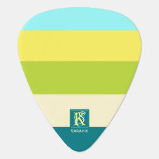 Fresh and Happy Colorful Stripes Monogram Plectrum