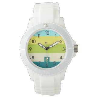 Fresh and Happy Colorful Stripes Monogram Watch