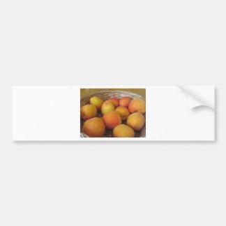 Fresh apricots in a wicker basket bumper sticker