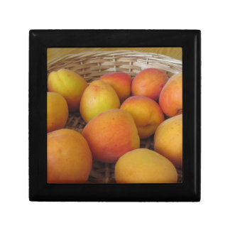 Fresh apricots in a wicker basket gift box