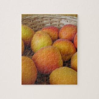 Fresh apricots in a wicker basket jigsaw puzzle