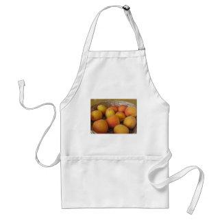 Fresh apricots in a wicker basket standard apron