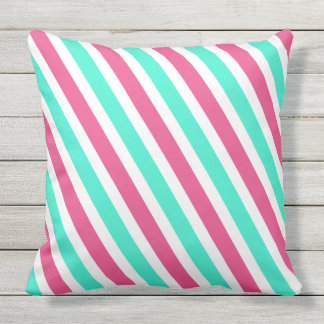Fresh Aqua Pink Summer Stripes Outdoor Cushion