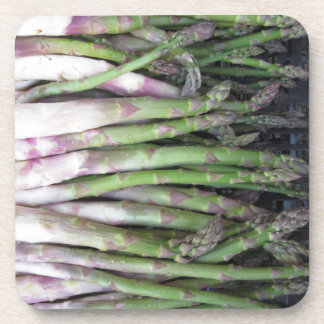 Fresh asparagus hand picked from the garden beverage coasters