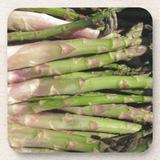 Fresh asparagus hand picked from the garden coaster
