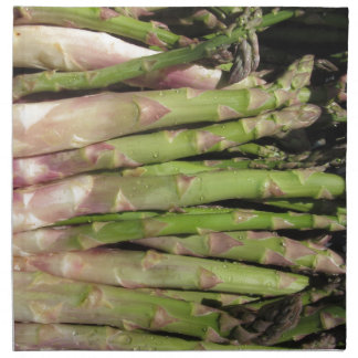 Fresh asparagus hand picked from the garden napkin